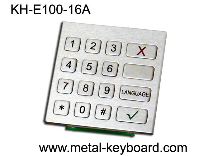 Rugged Stainless Steel Industrial Numeric Keypad with 16 Keys for Check - in Kiosk