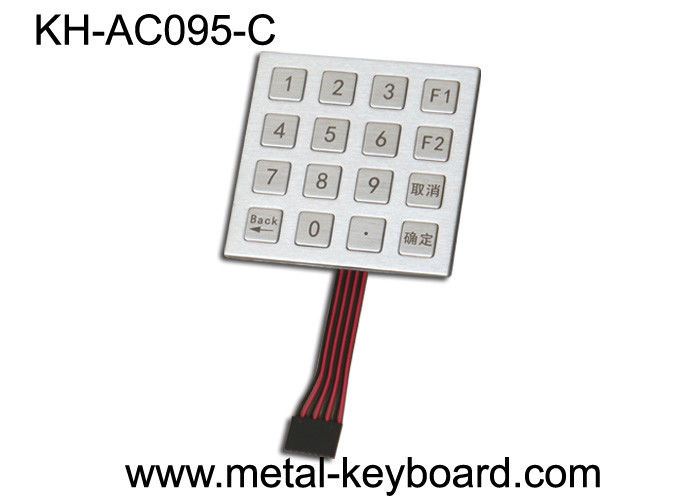 Access Control System Stainless Steel Keypad 4x4 Matrix , vandal proof keypad