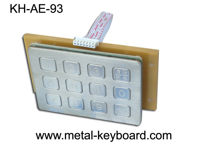 Industrial Metal 12 Keys Metal Numeric Keypad , Door Entry Keypad Anti - vandal