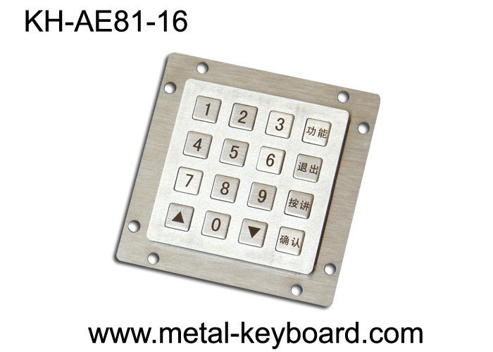 Anti - vandal Metal Kiosk Keyboard  IP65 , 16 key weatherproof keypad