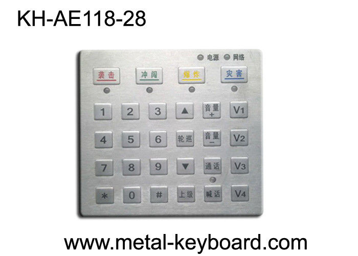 Dust proof Panel Pounting Metal Access Control Keyboard with 28 Keys
