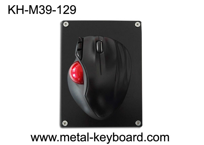 Resin Trackball With Black Metal Mounted Panel , Industrial Computer Mouse
